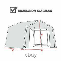 10'x10'x8'/10'x15'x8'FT Storage Shed Tent Car Garage Shelter Carport Steel Frame