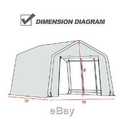 10'x10'x8'/10'x15'x8'FT Storage Shed Tent Shelter Car Garage Steel Frame Carport