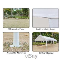 10 x 20 ft Car Port Canopy Gazebo Tent Cover with 6 Leg Steel Frame Garage New