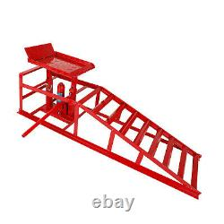2PC Auto Car truck Service Ramp Lifts Heavy Duty Hydraulic Lift Repair Frame Red