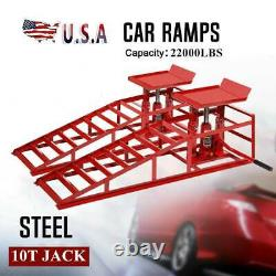 2PCs Home Car Auto Service Duty Lifts Heavy Repair Ramps Hydraulic Lift Frame