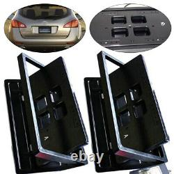 2pcs Electric Retractable Car License Plate Frame Bracket Flipper with Remote US