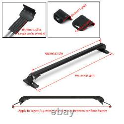 2x105cm Car Top Rack Aluminum Adjustable Cross Bar Luggage Carrier Window Frame