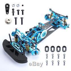 4WD G4 110 HSP RC Drift Racing Car Frame Kit Alloy & Carbon Fiber 078055B Blue