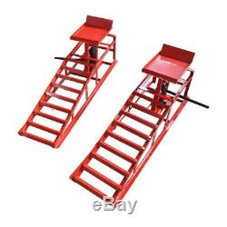 A Pair Auto Car Service Ramps Lifts Heavy Duty Hydraulic Lift Repair Frame Red