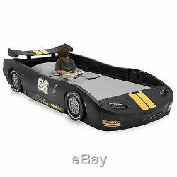 Boys Black Race Car Bed Frame Twin Size Platform Plastic Kids Bedroom Furniture