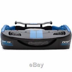 Boys Blue Race Car Bed Frame Twin Size Platform Plastic Kids Bedroom Furniture