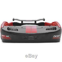 Boys Red Race Car Bed Frame Twin Size Platform Plastic Kids Bedroom Furniture