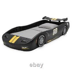 Boys Twin Bed Race Car Black Turbo Racing Frame For Kids Teens Bedroom Furniture