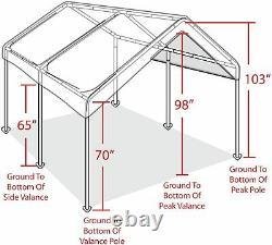 Canopy Carport 10' X 20' Heavy Duty Portable Garage Tent Car Shelter Steel Frame