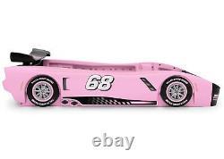 Car Bed Frame Race Twin Size Toddler Kids Boy Girls Bedroom Furniture Black Pink