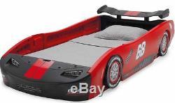 Car Bed Frame Race Twin Size Toddler Kids Boys Girls Bedroom Furniture Black Red