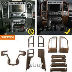 Car Full Interior Central Control Cover Trim Frame Ford F150 2015-19 Wood Grain