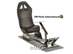 Car Game Steering Wheel Pedals Frame + Bucket Seat Carbon Style PS3 PS4 XBox GTA