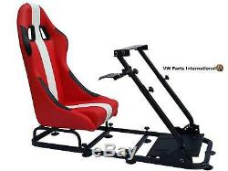 Car Gaming Racing Simulator Frame Chair Bucket Seat PC PS3 PS4 XBox Red/White