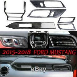Carbon Fiber Car Interior Set Decoration Trim Decal Fit Ford Mustang 2015-2019