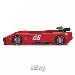 Classic Red Turbo Racecar Twin Bed Frame, Race Car Racing Kids Bedroom Furniture