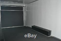 Enclosed car hauler tube frame 8.5x16 v nose, white, black options