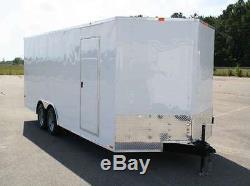 Enclosed car hauler tube frame 8.5x20 v nose, white, black