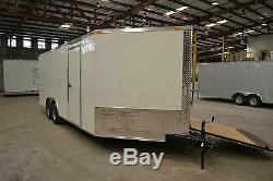 Enclosed car hauler tube frame 8.5x20 v nose, white, black race ready optional