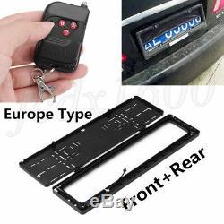 Europe Car Number License Plate Roller Blind Remote Hide Cover Shutter Frame 2x