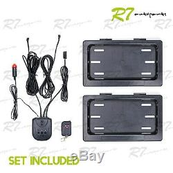 Fits Korean Car! 2x Powered Remote Curtain Cover Hide Away License Frame Plate