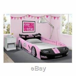 Girls Pink Race Car Bed Frame Twin Size Platform Plastic Kids Bedroom Furniture
