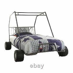 Go-Kart Twin Size Gunmetal Race Car Bed Frame Toddler Kids Bedroom Furniture Set