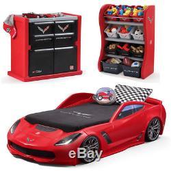 Kid Car Bed Frame Bedroom Furniture Set Toddler Boy Toy Organizer