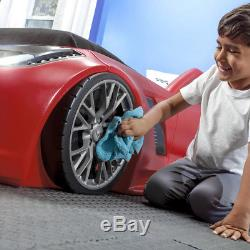 Kid Car Bed Frame Bedroom Furniture Set Toddler Boy Toy Organizer Twin Size Red