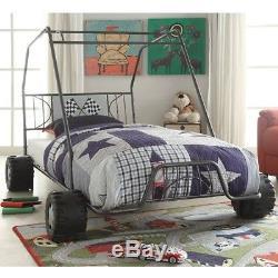 Kids Twin Bed Frame Race Car Beds Boys Bedroom Furniture Metal Go-Kart Racing