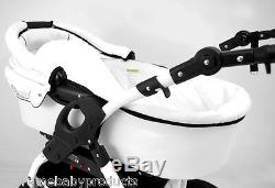 NEW Lucky! White Baby Pram / Pushchair / Car Seat 3in1 system on white chassis