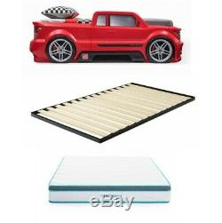 Race Car Bed Room Kids Children Furniture Boy Red Truck Home Mattress Twin Size