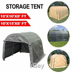 Storage Shed Tent Shelter Car Garage Steel Frame Carport 10'x10'x8'/10'x15'x8'FT