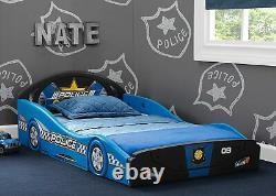 Toddler Bed Frame Police Car Guard Rails Kids Bedroom Furniture Boys Girls Safe