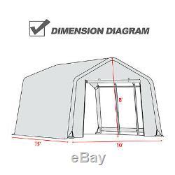 10'x10'x8' / 10'x15'x8'ft Tente Abri Stockage Shed Garage Cadre En Acier Auvent