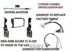 2004-2008 Acura Tl Double/din Dash Kit, Harnais, Subwoofer & Adaptateur D'antenne