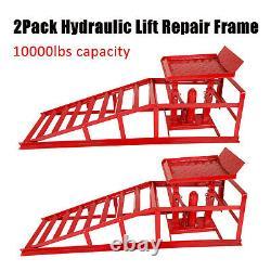 2pc Auto Car Truck Service Ramp Soulève Heavy Duty Hydraulic Lift Repair Frame Red