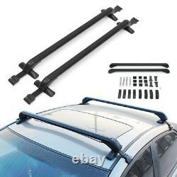 2x105cm Voiture Top Rack En Aluminium Réglable Barre Transversale Porte-bagages Fenêtre Cadre