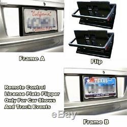 2x Cadre De Plaque D'immatriculation Flipper USA Numéro De Voiture Swap Turn Turn Stores Avec Télécommande