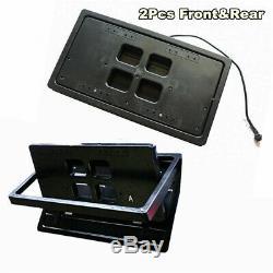 2x Invisible Flip Électrique USA Voiture Plaque D'immatriculation Cadre Turn Over + Télécommande Sans Fil