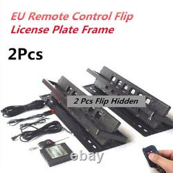 2x Plaque D'immatriculation De Voiture Turn Shift Blinds Eu Remote Control Flip License Plate Frame