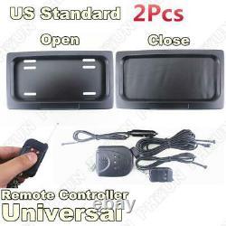 2x USA Standard Plaque D'immatriculation De Voiture Cadre De Basculement Électrique Tour Stores + Télécommande