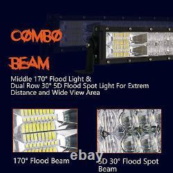 52+32'' Pouce Curved Led Light Bar Spot Flood Driving Offroad For Gmc Dodge Ram