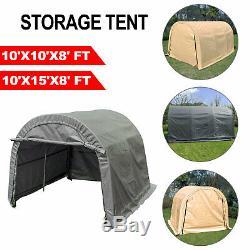 Abri Tente De Stockage Shed Garage En Acier Cadre Carport 10'x10'x8' / 10'x15'x8'ft