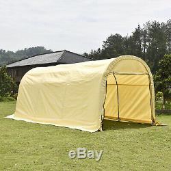 Beige Auvent Auvent Tente De Stockage Abri 10'x20'x8' Garage Cabanon Cadre En Acier