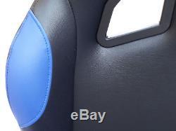 Cadre De Volant De Voiture + Siège Baquet De Chaise Ps4 Xbox Ps3 Pc Bleu / Noir