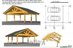 Carport Lourd Préfabriqué De Cadre De Bois De Construction Pour 2 Auvent En Bois D'ingénierie De Voitures De Deux Véhicules