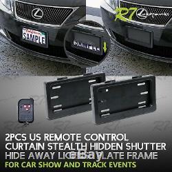 Convient Jeep! 2x Voiture Powered Couverture Rideau À Distance Cachée License Plate Frame
