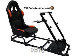 Gaming Car Racing Simulator Bucket Frame Seat Sim Pc Ps3 Ps4 Xbox Noir / Orange